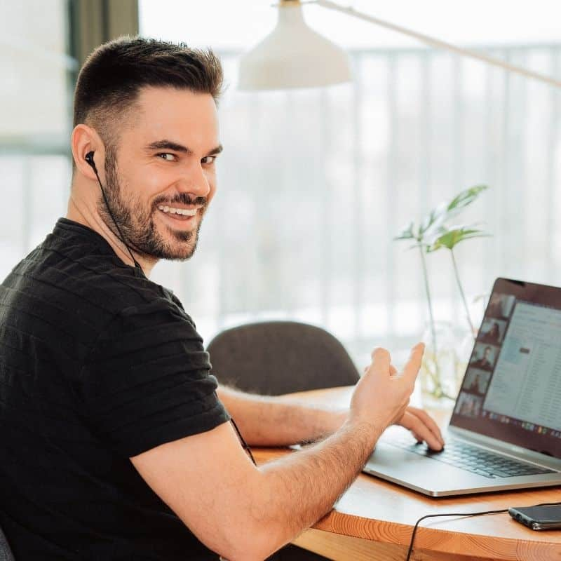 Man Taking Online English Lessons